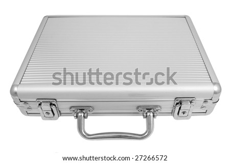 Aluminum briefcase isolated on white.