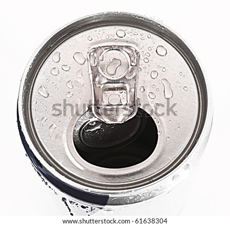 aluminum can closeup with water drops isolated on white