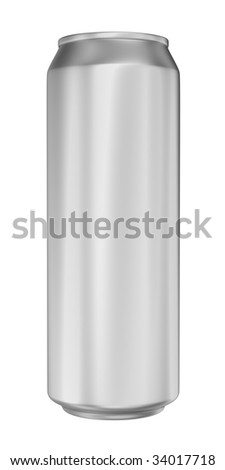 Aluminum can for beer on white background, isolated object.