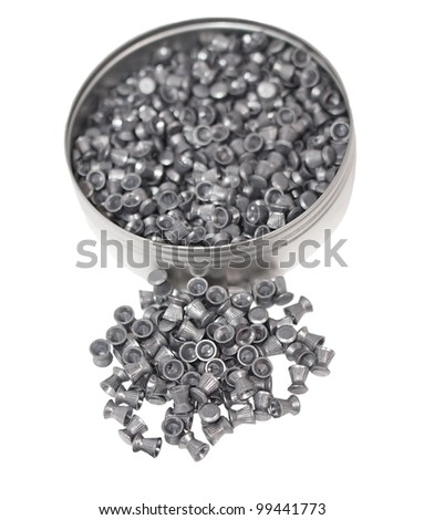 Aluminum can of lead pellets isolated on white, Diabolo pellets