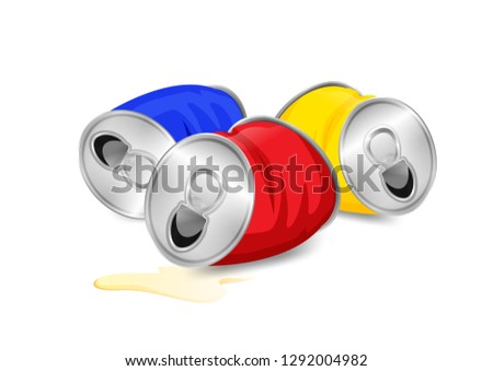 aluminum canned waste, canned garbage waste red blue and yellow colors isolated on white background, used cans illustration cartoon clip arts, garbage of crumpled aluminum cans waste