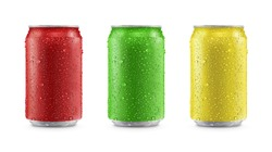 Aluminum cans in red,green,yellow isolated on white background,canned with water drops