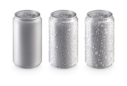 Aluminum cans in silver isolated on white background,canned with water drops,canned with water drops and ice,canned top view