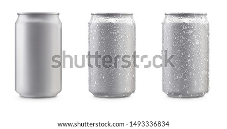 Aluminum cans in silver isolated on white background,canned with water drops,canned with water drops and ice