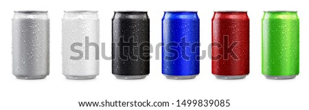 Photo of  Aluminum cans in silver,white,black,blue,red,green isolated on white background,canned with water drops