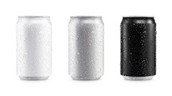 Aluminum cans in white,silver,black isolated on white background,canned with water drops