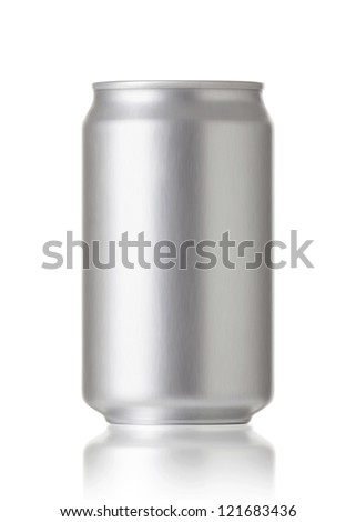 aluminum cans isolated on white background, Blank soda or beer can with copy space, Realistic photo image