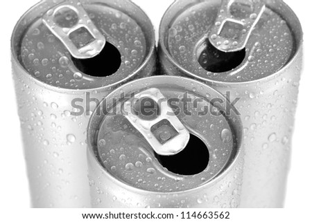 aluminum cans with water drops close-up
