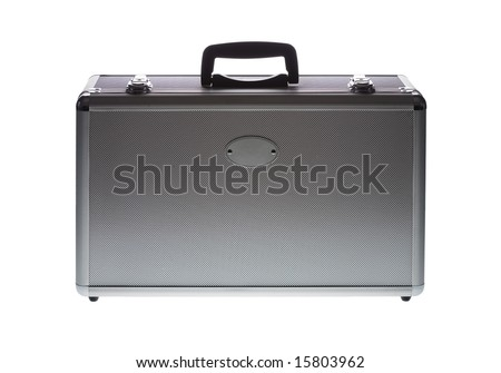 Aluminum case isolated against white background with oval label providing space for logo