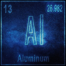 Aluminum chemical element, Sign with atomic number and atomic weight, Periodic Table Element