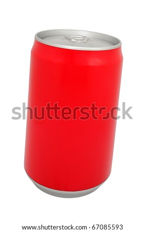 Aluminum drink can on a white background
