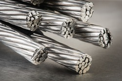 Aluminum electrical power cable close-up