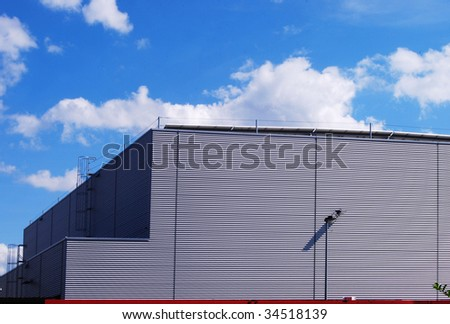 Aluminum facade of a factory building