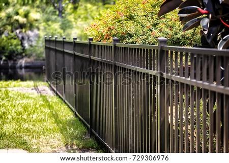 Aluminum Fence - Shutterstock ID 729306976
