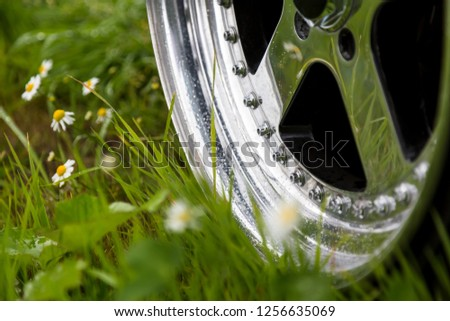 Aluminum forged wheels on the green grass in dandelions. Polish rims and bolts. Raindrops on wheel #1256635069