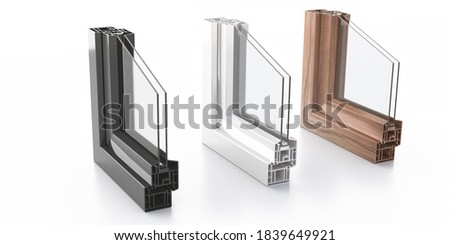 Aluminum frames double glazing profile isolated on white background. PVC or wood finish windows and doors detail cross section.  3D illustration ストックフォト ©
