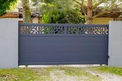 Aluminum gate sliding modern design grey portal of suburb garden door slide house