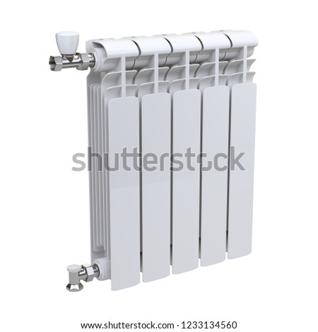 Aluminum heating radiator with valves for connection. Isolated on white background. 3d illustration. #1233134560