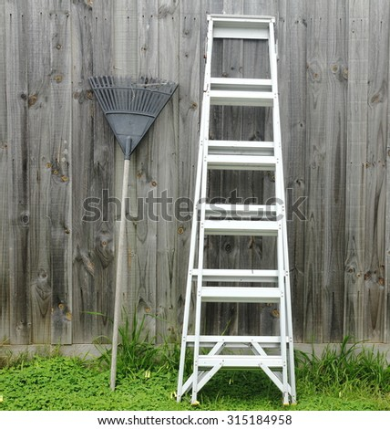 Aluminum ladder against the wall.