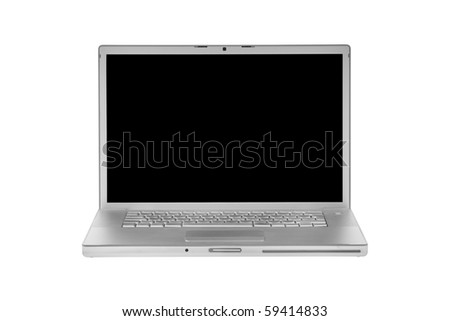 aluminum laptop isolated on white black display - front view