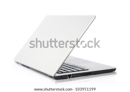 Aluminum laptop. Rear view. Isolated on white background