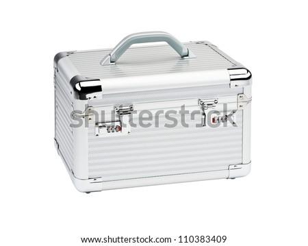 Aluminum Make Up case isolated on white background.