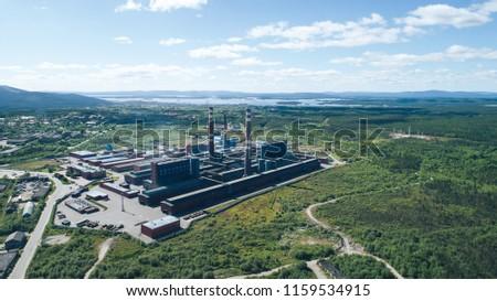 Aluminum Metallurgical Plant Aerial View. Location Kandalaksha Russia