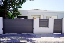 Aluminum modern home green grey gate portal of suburb door house