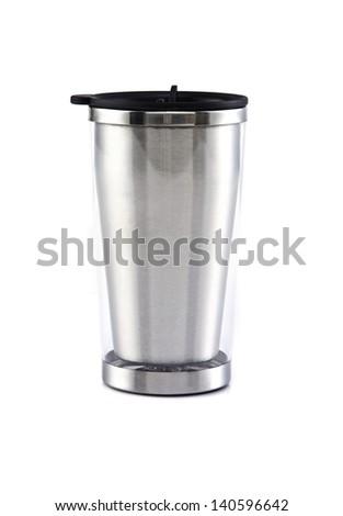 Aluminum mug on the white background