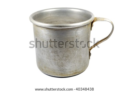 aluminum old mug isolated on white