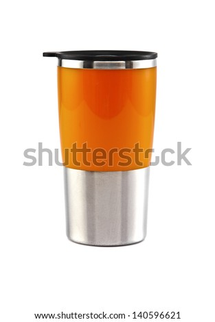 Aluminum orange mug on the white background