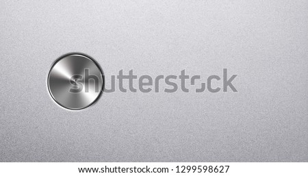 Aluminum panel with brushed chrome button with copy space #1299598627