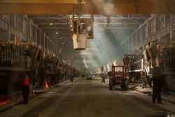 Aluminum plant. aluminum smelting bucket. Safe environmental high-tech processes. Modern smelter. Melting furnace  rusal