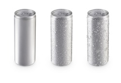 Aluminum slim cans in silver isolated on white background,canned with water drops,canned with water drops and ice,canned top view