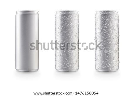 Photo of  Aluminum slim cans in silver isolated on white background,canned with water drops,canned with water drops and ice
