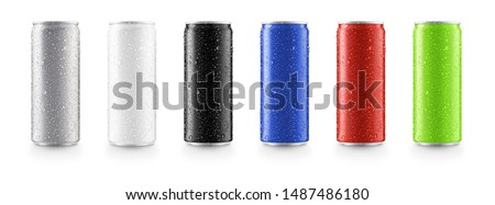 Photo of  Aluminum slim cans in silver,white,black,blue,red,green isolated on white background,canned with water drops