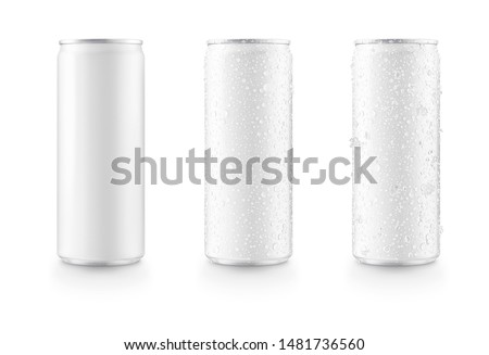Photo of  Aluminum slim cans in white isolated on white background,canned with water drops,canned with water drops and ice