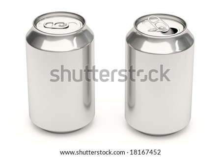 Aluminum soda cans isolated over a white background.