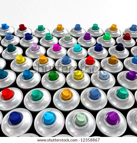 Aluminum spray cans with differently colored nozzles