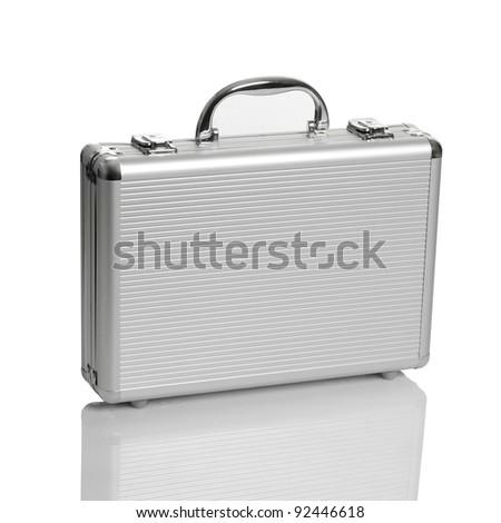 Aluminum suitcase. Isolated white background.