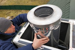 Aluminum ventilation chimneys, the master installs on the roof of the house. Smoke pipe for smoke from the kitchen.
