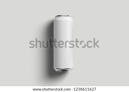 Aluminum white soda can mock-up isolated on soft gray background.High resolution photo. #1238611627