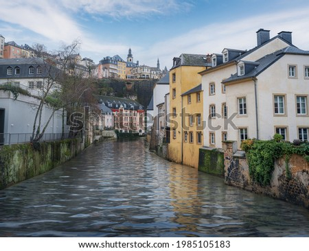 Alzette River and the Grund district with St Michaels Church on background - Luxembourg City, Luxembourg Stock photo ©