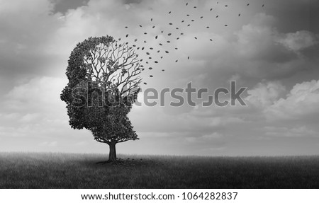 Alzheimer disease as a neuropathology memory loss due to brain degeneration and decline as a surreal medical neurology illness concept.