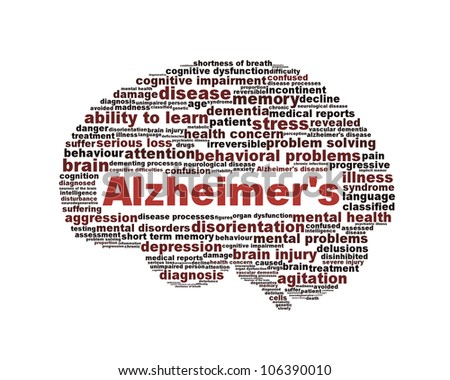 Alzheimer's disease symbol isolated on white background. Dementia mental health problem design