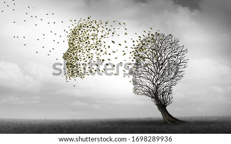 Alzheimers and dementia concept of memory loss disease and losing brain function memories as an alzheimer health symbol of neurology and mental problems with 3D illustration elements.