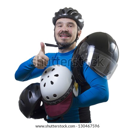 Am I safe? Adult male with assorted helmets. Studio shot isolated on white background.
