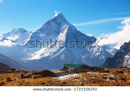 Ama Dablam and Dzonglha village, Sagarmatha national park, Khumbu valley, Nepal Himalayas mountains