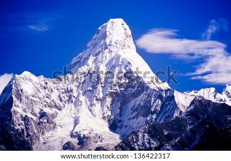 Ama Dablam in the Everest region of the Nepal Himalaya mountain range