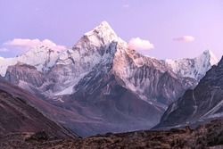 Ama Dablam in the purple haze of a beautiful Himalayan sunset.